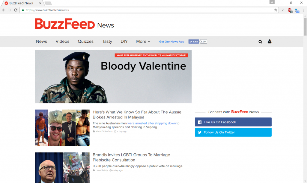 Screenshot of Buzzfeed News in Australia. Picture: Buzzfeed.com/news